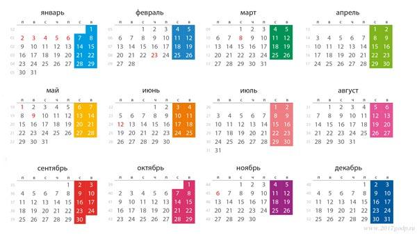 Календарь рабочих дней 2017